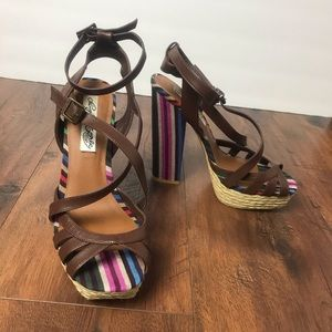 Naughty Monkey Colorful Striped Square Heels